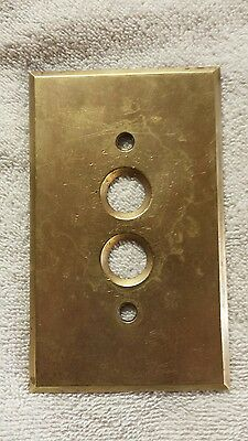 1 Vintage PERKINS Heavy Duty Brass Push Button Cover Plate - Bright finish
