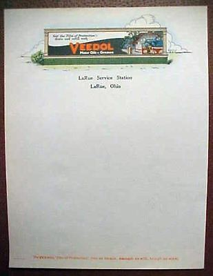 1920's VEEDOL MOTOR OIL w Gas Station Pic STATIONERY