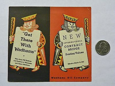 1935 WADHAMS OIL COMPANY Contract Bridge SCORING CARD