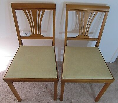 Leg-O-Matic Vintage Mid Century Harp Back Set 2 Folding Chairs Bridgeport, Conn.