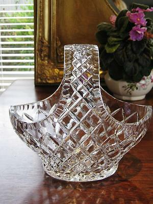 Stunning vintage Bohemia crystal basket, highly detailed cut pattern