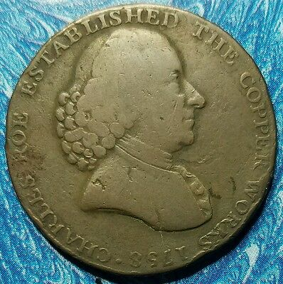 1791 Great Britain Cheshire Macclesfield Half Penny Conder Token D&H 44