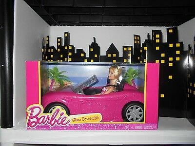 Barbie Glam Convertible Pink Car Doll Mattel Hot Seats And Shine NIB Vehicle New