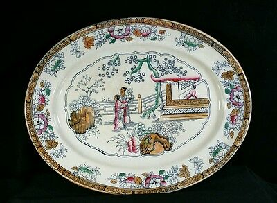 Antique 1862-1890 Ashworth Brothers Ironstone Platter Chinese Pattern England VG