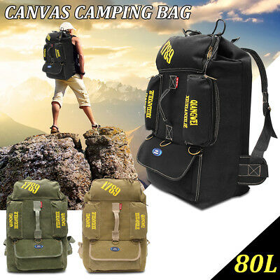 80L Extra Large Internal Frame Hiking Camping Travel Military Backpack Outdoor