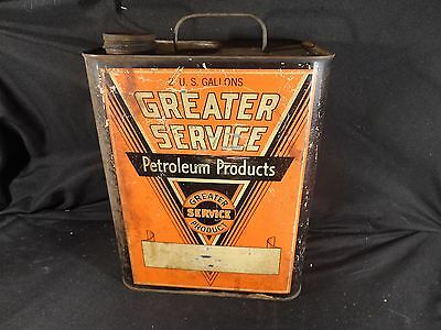 Vintage 2 Gallon Greater Service Motor Oil Can Gas