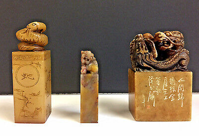 Collection Of Antique Chinese Hand Carved Stone Seals Calligraphy Signed