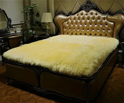 100% Pure Sheepskin Queen Size Bed Thick Fur Wool Plush Blanket Throw