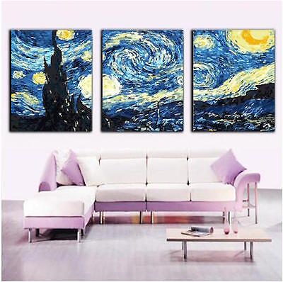 Set of Three Canvas Paint By Number Kit 3*40*50cm Starry Sky F3P022 S4 AU STOCK
