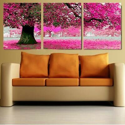 Set of Three Canvas Paint By Number Kit 3*50*50cm Colorful Tree F3P008 S4 DIY