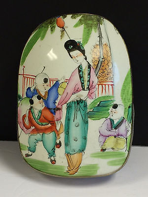 Antique Chinese Porcelain & Silver Box Beautiful Maiden and Children