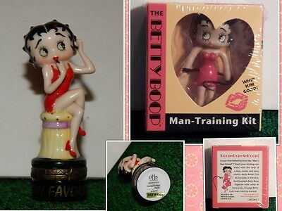 Lot of 2 Betty Boop collectible Porcelain Trinket Box & Man Training Kit sealed