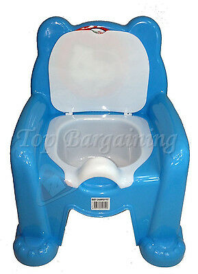 Easy Clean Blue Bear Baby Toddler Portable Toilet Potty Seat Chair Removable Lid