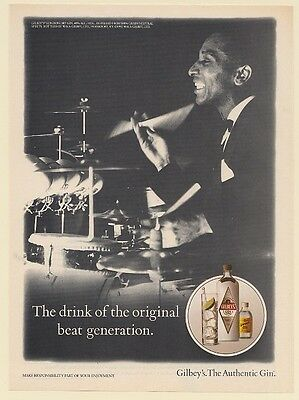 1992 Gilbey's Gin Drink of Original Beat Generation Drummer Print Ad