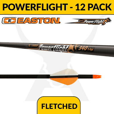 Easton Powerflight Fletched 12 Pack - Carbon Arrows for Bowhunting and Archery