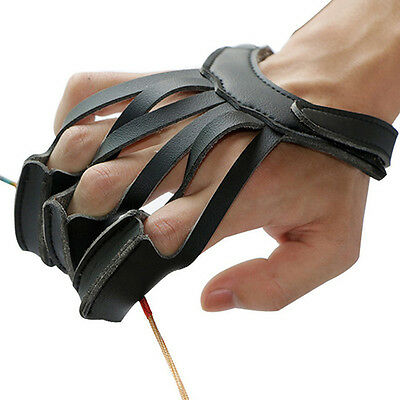 Archery Hunting 3 Finger Leather Hand Protect Glove Guard Bow Shooting Black