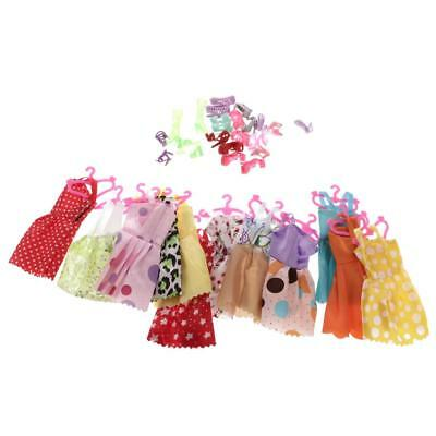 24 Pieces Skirts Dresses Clothes Hangers & 12 Pairs Shoes for Barbie Dolls