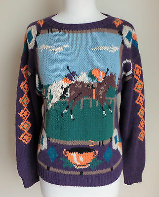 WOOLRICH WOMAN VTG Sweater Sz S Small Polo Pony, Trophy, Medals