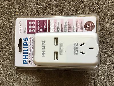 Philips Surge Protector Protection Wall Tap and 2 USB Ports for Charging Charge