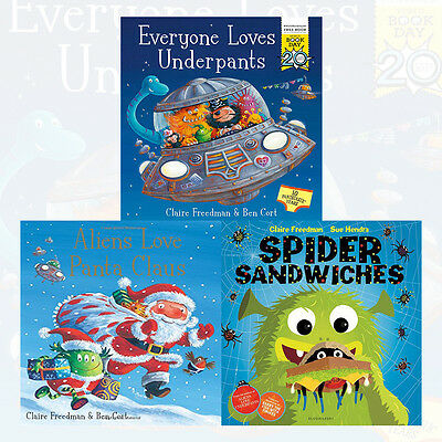 Claire Freedman Collection Aliens Love Panta Claus 3 Books World Book Set NEW PB