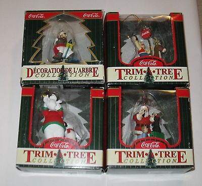 Vintage 1998 Coca-Cola Christmas Tree Ornaments Lot of 4  FREE SHIPPING
