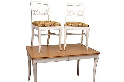 Blonde and White Kitchen Table w/2 Chairs Painted