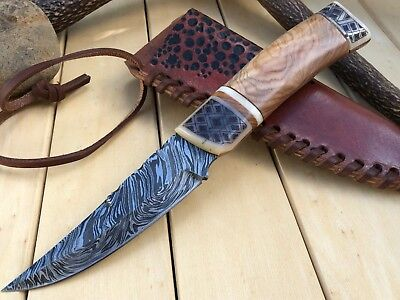 "Huntex Special Handmade Damascus Hunting 8.9"" Hand Crafted Scrimshaw Art Knife"