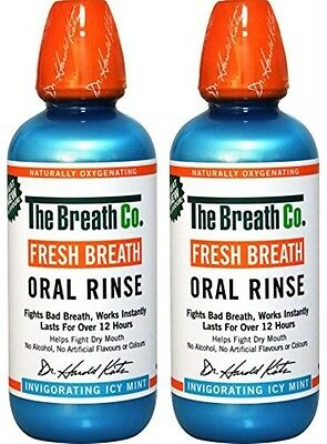 2 x The Breath Co Fresh Breath Oral Rinse 500 ml, Icy Mint (Bad Breath)