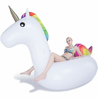 Rainbow Unicorn Swimming Pool Lounger Giant Ride On Inflatable Toy Beach Float