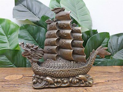 Feng Shui Drachenboot Dragon Boat Pavillon Schiff aus Messing China A2932