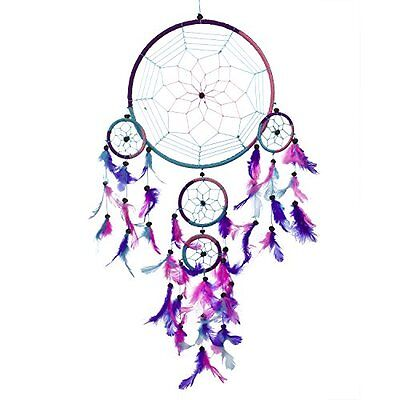 "Handmade Traditional Dream Catcher Aqua Blue Pink Purple 8.5"" Diameter 24"" Long"