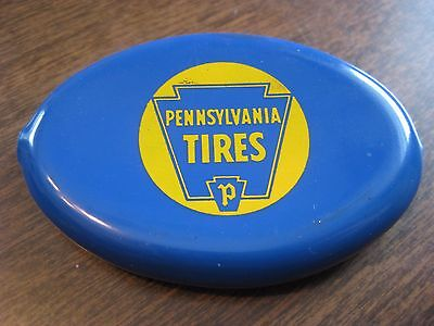 Vintage PA Pennsylvania Keystone Tires Rubber Change Purse Blue Yellow