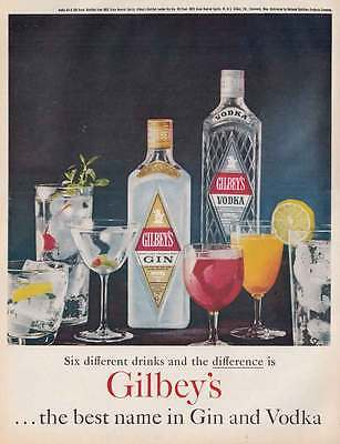 1961 Gilbeys Gin, Vodka: Six Different Drinks (21518)