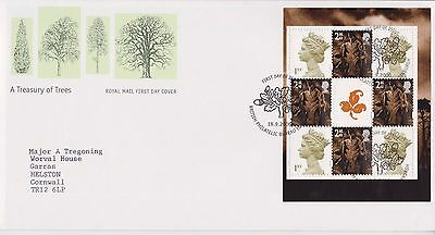 Gb Royal Mail Fdc Cover 2000 Treasury Of Trees Prestige Pane Bureau Pmk