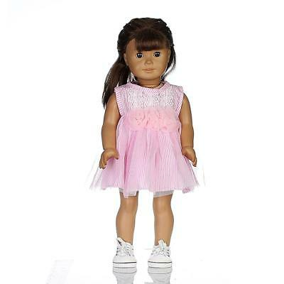 Lace Dress Pink Skirt for American Girl Journey 18 INCH Doll Clothing Outfit