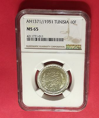 Tunisia -Ah1371//1951 Silver 10 Francs,  Ngc Ms65  Extra Rare..low Mintage