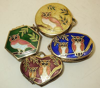 4 Vintage Owl Lock Pendant Hinged Box Jewlery Cloisonne Gold Enamel Brass Lot