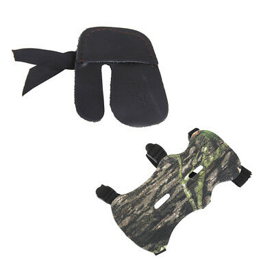 Camouflage Archery 3-Strap Arm Guard & Black Finger Guard Glove Protector