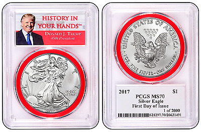 2017 TRUMP Silver Eagle FIRST DAY ISSUE 1 of 2000 PCGS MS-70 RED GASKET
