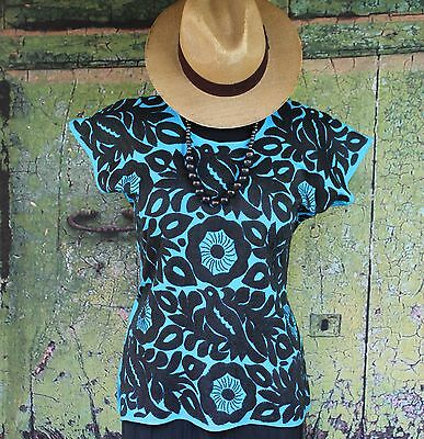 Hand Embroidered Black on Turquoise Huipil / Blouse Jalapa Mexico Hippie Cowgirl