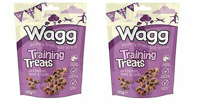 2 Packs Wagg Puppy Dog Bite Size Training Treats Chicken, Beef & Lamb