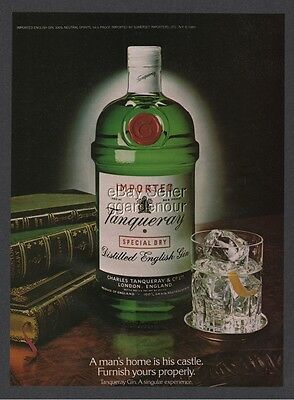 1981 TANQUERAY Gin A Mans Home is his Castle Furnish Yours Properly Vintage Ad