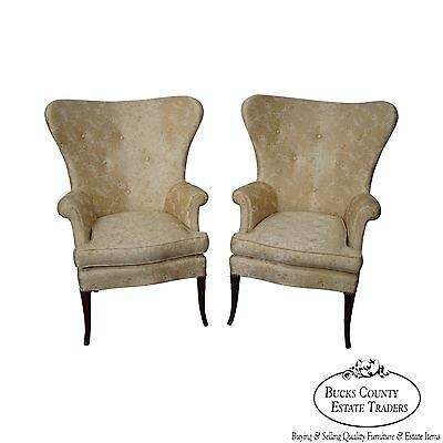 Vintage Pair of Fan Back Fire Side Host Wing Chairs