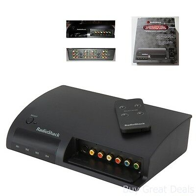 4-In 1-Out Component S-Video Composite A/V Selector Switch Box w/ Remote Control