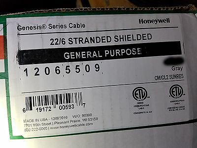 Honeywell Genesis Cable 1206 22/6C Stranded Shielded Media/Comm Wire Gray/100ft