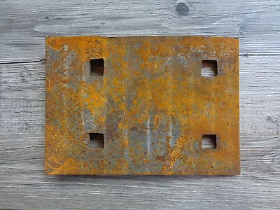 Vintage Salvage Rusty Steel Railroad Train Track Plate for Steampunk Repurpose