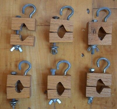 """Vintage Lot of 6 Hand Made Small Wood Clamp Press w/ Hooks 1"""""""