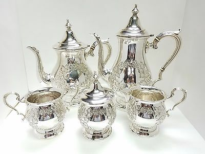 Fisher Sterling Silver Hand Chased Coffee Tea Sugar Creamer Waste Pot Set of 5