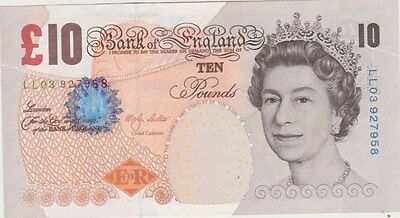 Replacement B391 M. Lowther Ll03 Ten Pounds Banknote In Near Mint Condition