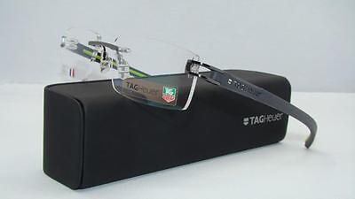 Tag Heuer TH 7644 008 Track Gunmetal Black Green Rimless Eyeglasses Frames Sz 56